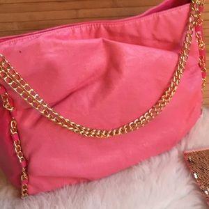 Handbags - Fashion Pink bag purse - gold rope chain